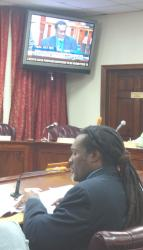 Bevan Smith, director of the V.I. Energy Office, testifies Monday  before the Senate Committee on Economic Development, Energy and  Technology.