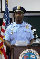 Corporal Uston Cornelius announces the drunk driving crackdown.