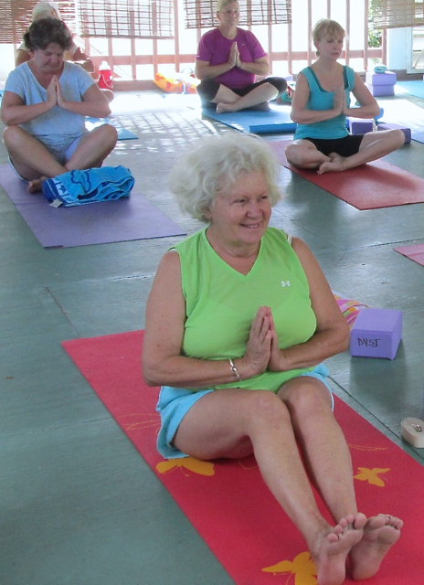 Marie Naisby, front, wanted a yoga class for older women.