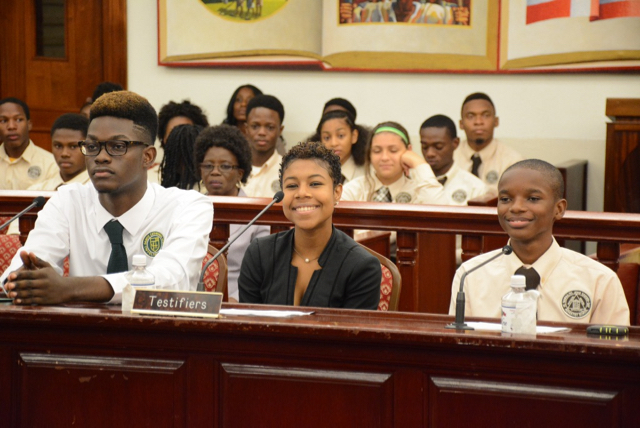 From left,  Irvin Mason Jr.; Khalese Potter and Jair Smith testify at Wednesday's Rules and Judiciary Committee hearing. (Barry Leerdam photo; provided by the V.I. Legislature)