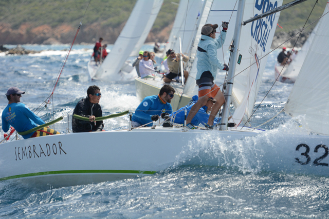 The crew of Sembrador battle for position in wild, windy racing Saturday. (Photo by Dean Barnes, provided by STIR)