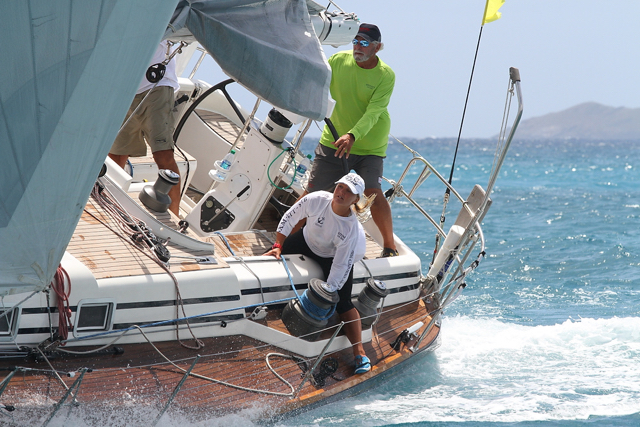 The crew of Affinity races Saturday in the St. Thomas International Regatta. (Photo by Ingrid Abery, provided by STIR)