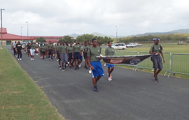 The JROTC Barracuda Battalion takes part in the 5K Fun Run at St. Croix. (Photo provided by USVI JROTC)