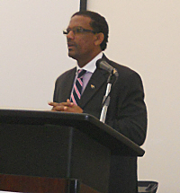 Kedrick Pickering of the B.V.I. addressed the gathering of small island states.