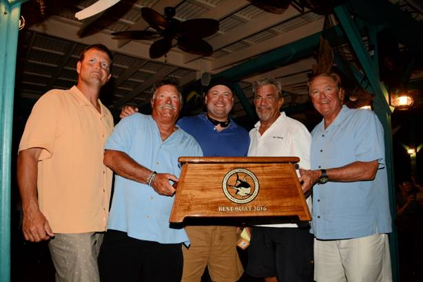 (L to R) The Top Boat Gulf Rascal team -- Andy Venable, Glen Helton, Rob Berringer, Capt. Billy Borer and Rod Windley. (Credit - Dean Barnes)