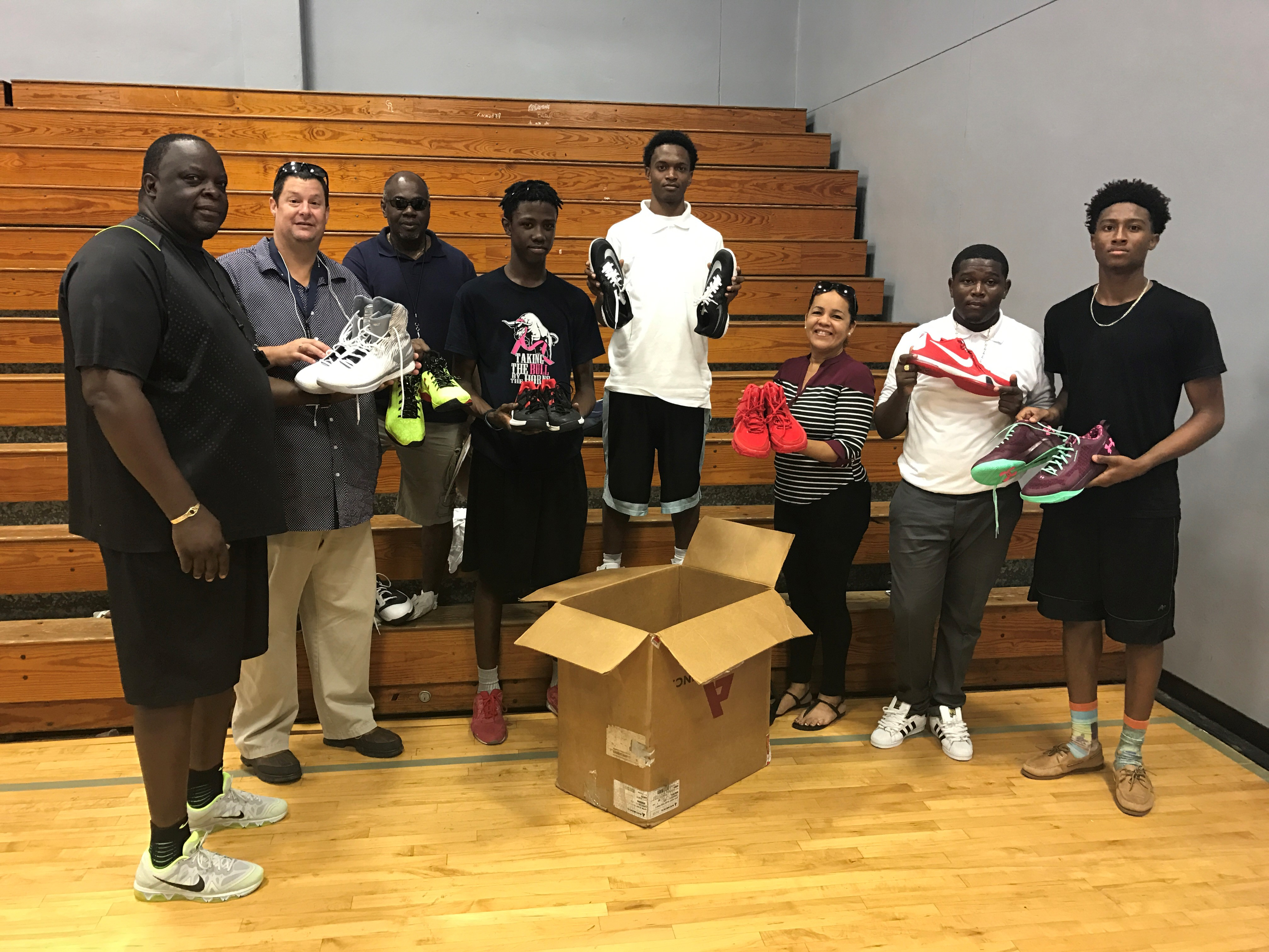 Donations of sneakers were given to V.I. students.