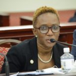 Human Services Commissioner Felecia Blyden addresses the Senate at Wednesday's session. (Photo by Barry Leerdam, provided by the V.I. Legislature)