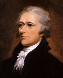 Alexander Hamilton, from 1806 oil portrait by John Trumbull. The painting is now at Washington University Law School. (Image in the public domain)