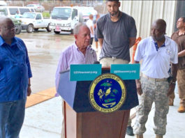 Former New York Mayor Michael Bloomberg addresses hurricane recovery just days after the September hurricanes blasted the territory. With him are, from left, Gov. Kenneth Mapp, St Croix native and NBA star Tim Duncan, and Lt. Gov. Osbert Potter.