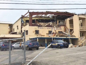 The VIPD's Mariel C. Newton Command Center on St. John, heavily damaged by Hurricane Irma. (All photos with this story are from the Love City Strong Facebook page)