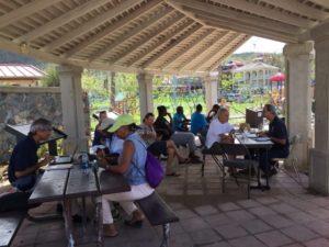 Residents apply for Disaster Survivor Assistance at the National Park Service pavilion.