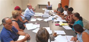 The board of the Juna F. Luis Memorial Hospital convenes for its first meeting since Hurricane Maria hit the island. (Jamie Leonard photo)