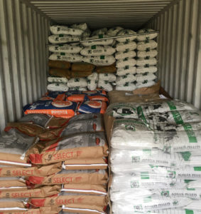 A container of supplies is ready for shipment. (Photo by Finish Line Feed)
