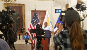 News media gather to cover Gov. Kenneth Mapp's daily news briefing Monday at Government House.