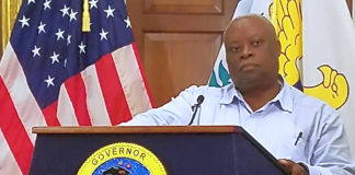 Gov. Kenneth Mapp speaks at Friday's news conference. (Jamie Leonard photo)