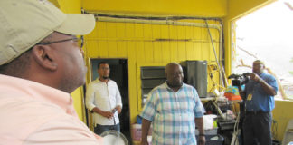 Gov. Kenneth Mapp views the damage at the Coral Bay Fire Station caused by Hurricane Irma.