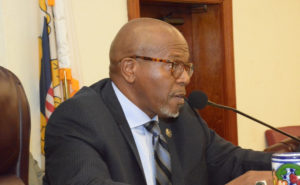 Senate President Myron Jackson chairs legislative session. (V.I. Legislature photo by Barry Leerdam)