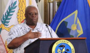 Gov. Kenneth Mapp speaks Monday at Government House. (Jamie Leonard photo)