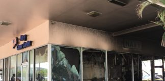 Firebomb damage at Nisky Center recruiting station Feb. 28.