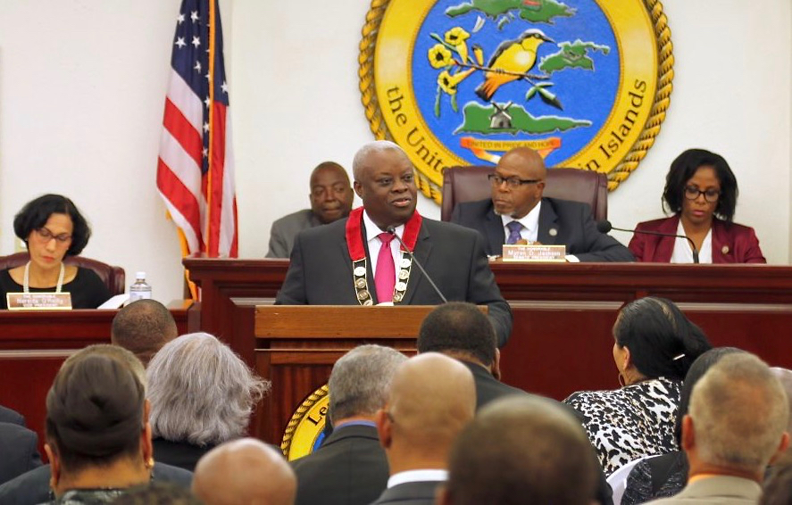 Gov. Kenneth Mapp presents his fourth 'state of the territory' speech Monday. (James Gardner photo)