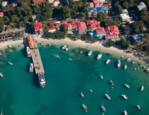 Aerial view of Cruz Bay beachfront including Wharfside Village
