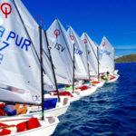 Young sailors line up for the start n the 2017 Crucian Open Regatta.