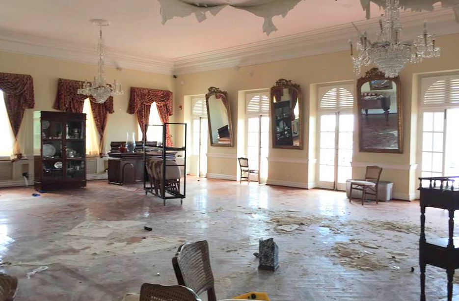 This photo of a storm-ravaged Government House is from the Facebook page of Eddie Eitches, who posted it and other photos of the storm ravaged Government House in January.