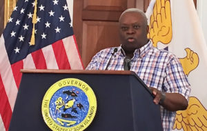 Gov. Kenneth Mapp discusses federal disaster relief Friday.