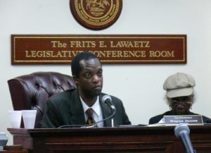Sen. Wayne James chairing a 2010 hearing on St. Croix (File photo)