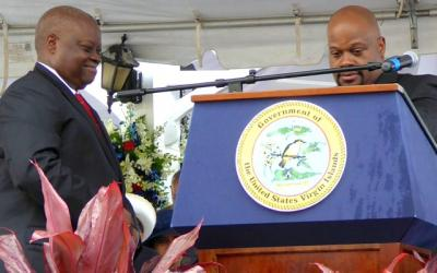 Gov. Kenneth Mapp and outgoing Senate President Shawn-Michael Malone