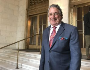 St. Croix Attorney Andrew Simpson standing on the steps of the U.S. Supreme Court in January when he delivered oral arguments in Hall v. Hall, leading to a unanimous decision in his favor. (Photo courtesy of Andrew Simpson)