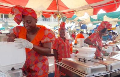 The Goodies food booth served barbeque chicken, fish, pork and other traditional dishes