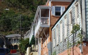 Houses climb the hill on Garden Street.