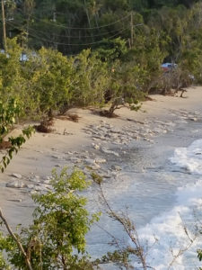 Huge waves scooped the sand off Magens Bay beach, exposing these long submerged rocks. (sap photo)