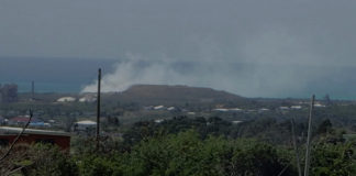 Smoke rises from a fire at the Anguilla Landfill. (Susan Ellis photo)