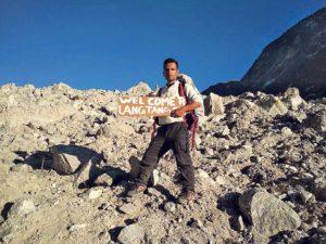 Ashok Silwal reaches Langtang.