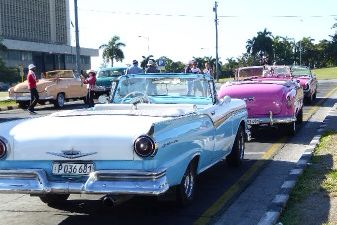 Cars as taxis at Plaza de Revolucion