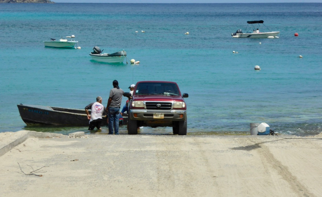 The Hull Bay boat ramp can be used again after a backhoe cleared it of sand. (sap photo)