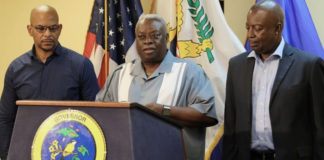 From left, Public Works Commissioner Nelson Petty, Gov. Kenneth Mapp and Lt. Gov. Osbert Potter outline plans for a major overhaul of the territory's road system.