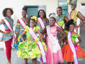 Festival royalty, front row, from left: Kyerah Gumbs, 2017 Festival Princess Yamilette Diaz, and A'mrii Jones. Back row, from left: Chenijah Dawson, Niesha Somersall, 2017 Miss St. John Festival Queen Jeminie Niles, Ge'Leah Browne, and Steffany Carol-Rivers.