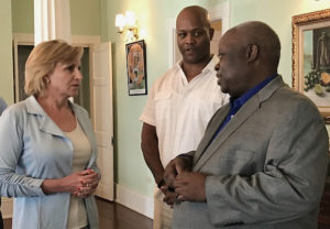 HUD Deputy Secretary Pamela Hughes Patenaude met Tuesday with Gov. Kenneth Mapp, right, and Public Finance Authority Valdamier Collens today to discuss disaster recovery efforts. (HUD photo)