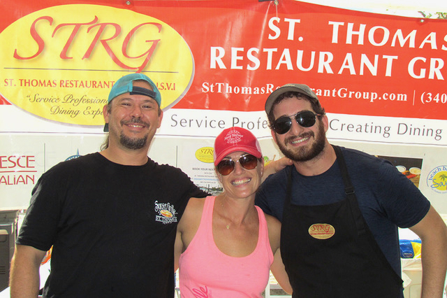 Drew Rawlins-Kinsman, Jessica Hume and Scott Friedman represented the St. Thomas Restaurant Group, a locally owned collection of differently themed eateries. (Gerard Sperry photo)