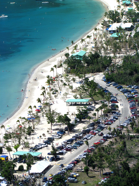 Cars, people and wings jammed the south end of Magens Bay Beach. Despite the crowds, the security and traffic personnel made sure things moved smoothly.