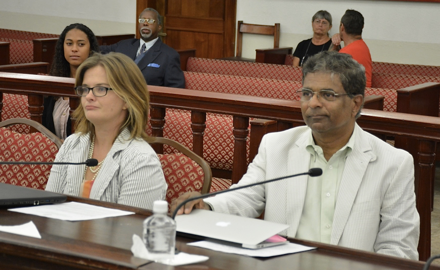 DPNR Education and Outreach Coordinator Kitty Edwards and IGLA President Harith Wickrema testify Monday.