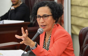 Sen. Nereida Rivera-O'Reilly asks a pointed question during the hearing on the court system's budget.