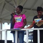 Ophelia 'Nemmy' Jackson addresses the St. Croix Women's March in January. Beside her is Carol Burke. (Anne Salafia photo)