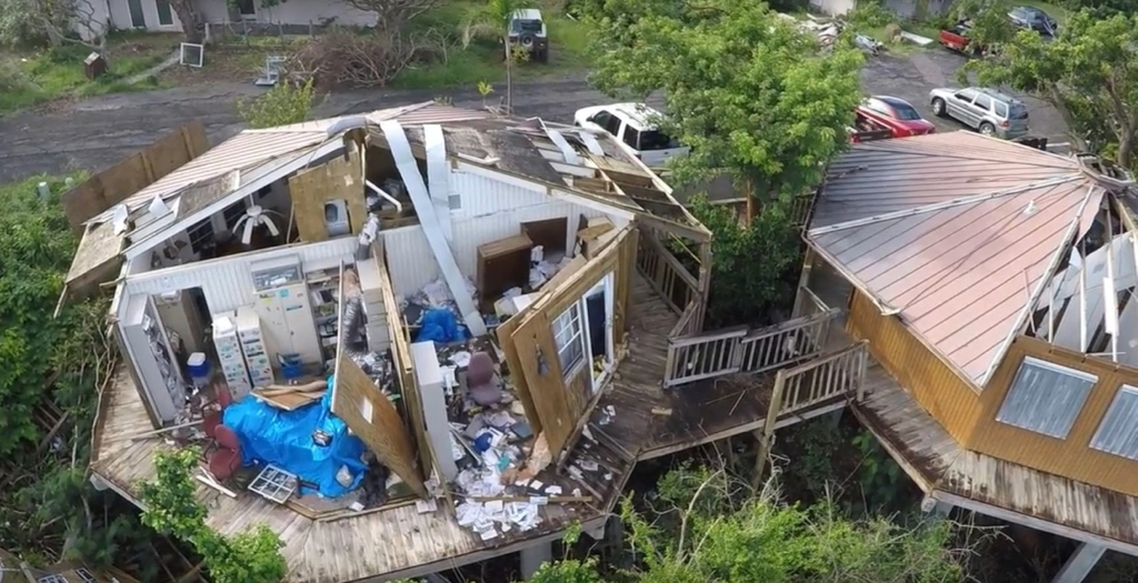 VINP offices damaged at Lind Point in Hurricanes Irma and Maria. (NPS photo)