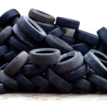 A pile of used tires. Americans dispose of bout 290 million tires a year, almost one per person. (Image from rubbercycle.com)