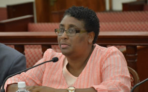 Caroline Fawkes testifies before the Senate Finance Committee. (V.I. Legislature photo)