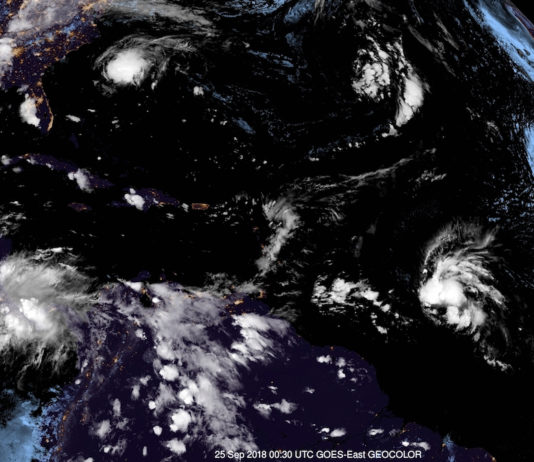 This 8:30 p.m. AST Monday satellite photo, with the USVI and Puerto Rico just to the left of center, shows the remnant of TS Kirk at right, moving west towards the Windward Islands at about 25 mph. (NOAA photo)